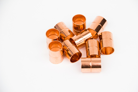The copper coupling on the white background