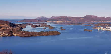 A beautiful view of the fjord near the city Ulsteinvik west Norway.