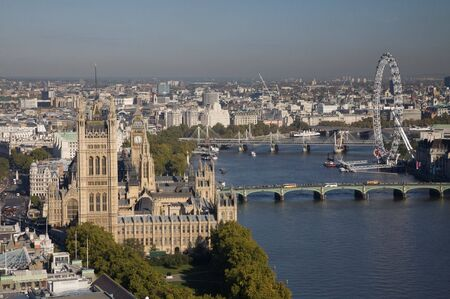 parliament: Aerial view on Houses of Parliament and  London Eye.