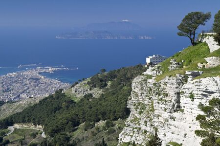 egadi: Title View on Trapani and Egadi Islands from Erice