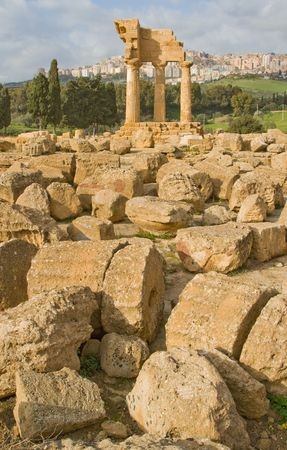 valley of the temples: Ruins of Temple of Castor and Pollux in Valley of the Temples in Agrigento (Akragas), Sicily. Stock Photo
