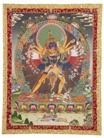 traditionally: Inner part (cut out) of Tibetan thangka with Kalachakra Stock Photo