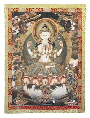 traditionally: Inner part (cut out) of Tibetan thangka with Chenrezig
