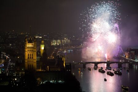westminster: Aerial view on fireworks over London Eye and Westminster, London