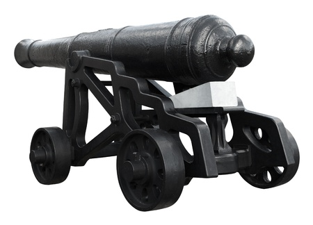 18th: Isolated on white, restored 18th century cannon on wheels