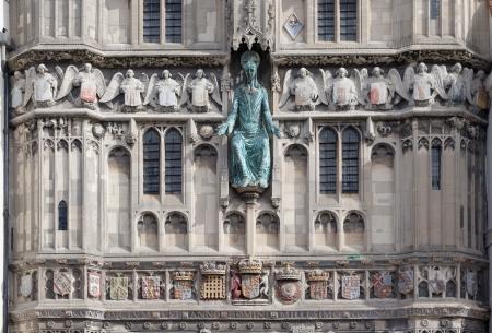canterbury: Fa�ade de l'entr�e � l'ext�rieur de la cath�drale de Canterbury, Kent, Angleterre Banque d'images