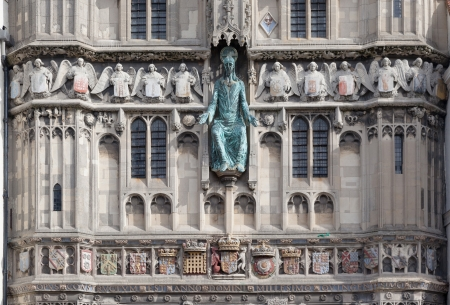canterbury: Facade of the outside entrance of the Canterbury Cathedral, Kent, England