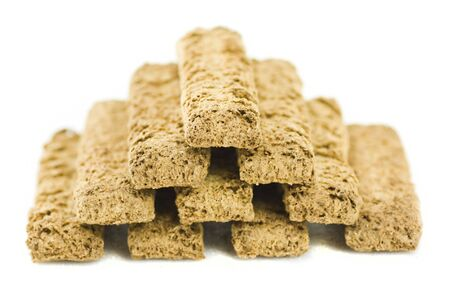 piramyd of bran biscuit isolated on white background
