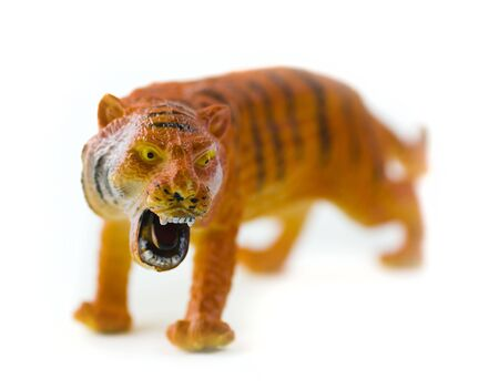 tiger figure toy isolated on white background; without trademark photo