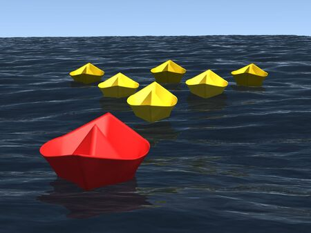 3d computer generated image of group of origami paper ships that conduct by leader on the realistic ocean surface, concept of leadership ora managment