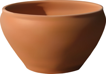 clay ceramic empty bowl lightening from left top side, its vector drawing with mesh gradient, very realistic and layer, easy to modify and you may put your sign or drawing on it Illustration