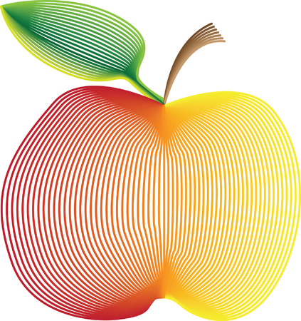 vector drawing of apple with stem and leaf prepared with gradient linear technique Illustration