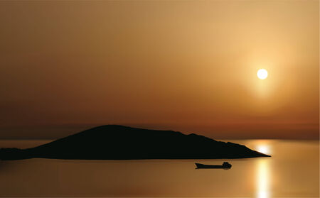 vector drawing of sunrise at Mirabello Bay Crete Mediterranean Sea with view at Spinalonga   peninsula; its done with gradient mesh technique from real photo taking during August holiday on Crete