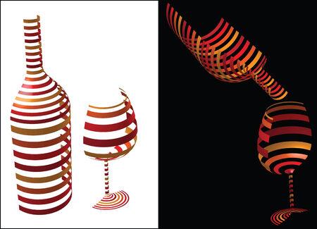 시뮬레이션: Wine symbol idea - concept image bottle and glass of wine as symbol or icon, simulating 3-D graphics with horizontal stripes in shadow and light