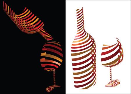 시뮬레이션: Wine symbol idea - concept image bottle and glass of wine as symbol or icon, simulating 3-D graphics with diagonal stripes in shadow and light