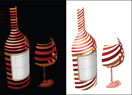 시뮬레이션: Wine symbol idea - concept image bottle with label and glass of wine as symbol or icon, simulating 3-D graphics with diagonal stripes in shadow and light