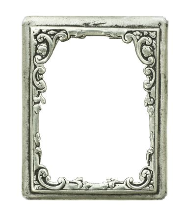 old decorative silver frame - handmade, engraved - isolated on white background Stock Photo - 5574538