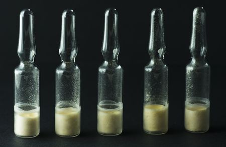 ampoules: group of ampoules with dry drug for injection Stock Photo
