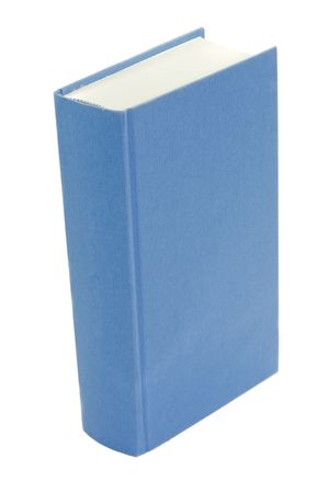 blue book standing isolated on white background