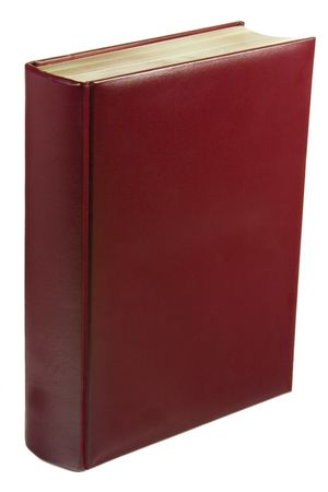 Leather red book isolated on white background