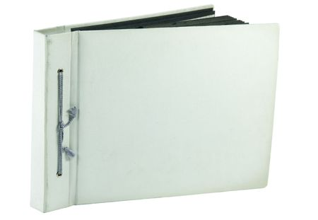 wornout: isolated old worn-out photo album with cord in spine Stock Photo