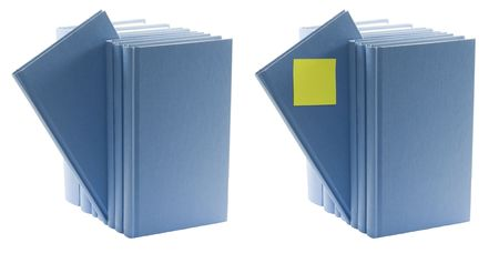 isolated blue books standing in groups with label Stock Photo - 6354325