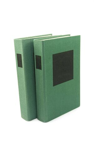 green books with black label, laying isolated on white background Stock Photo - 6390649
