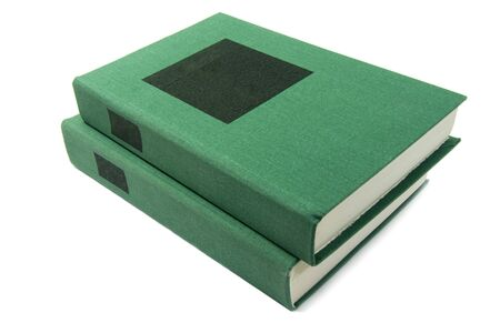 green books with black label, standing isolated on white background