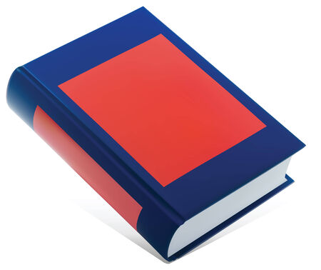 blue slanted book with red label Illustration