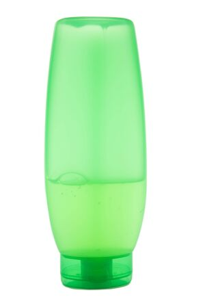 beautycare: green plastic translucent bottle with liquid isolated
