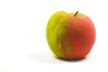 single isolated painted with tempera apple Stock Photo - 6642746