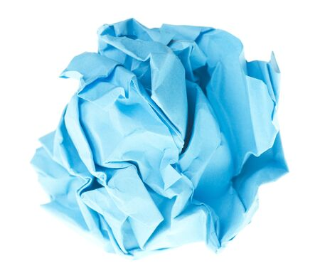 isolated on white crumpled paper into a ball