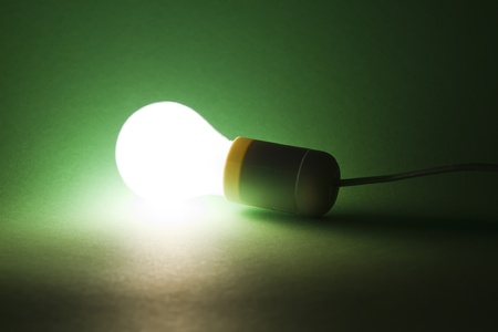 lightbulb laying on green background photo