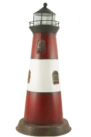 cilinder: metal model of toy lighthouse isolated on white background Stock Photo