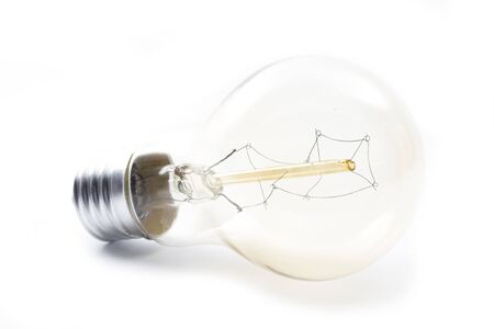 single lightbulb with atypical tungsten isolated on white background Stock Photo - 16796837