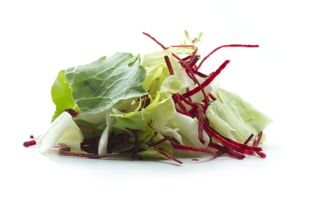 portion of mixed salad isolated on white background photo