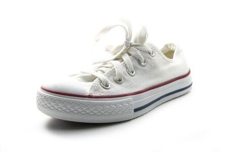 single white sneaker isolated on white background Stock Photo - 16847372