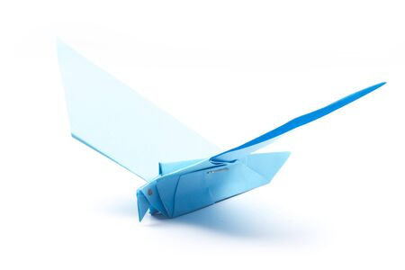 blue paper origami dove isolated on white background Stock Photo - 16847131