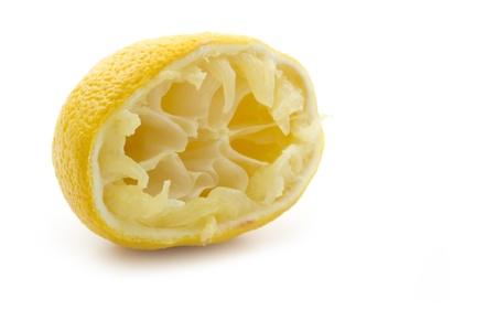 squeezed half yellow lemon isolated on white background Stock Photo