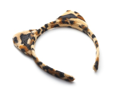 leopard textured hairband with ears isolated on white Stock Photo - 17612702