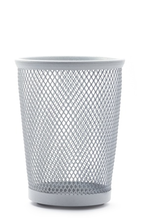 wastepaper basket: isolated empty metal office wastepaper basket Stock Photo