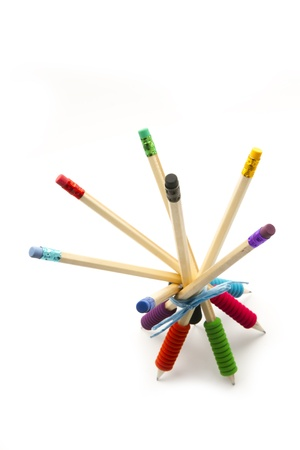 group of pencil with various colours rubber staying tied together  isolated photo