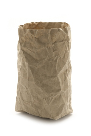 crumpled recycling paper bag isolated on white photo