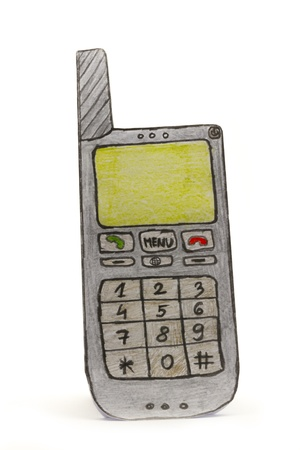 standing paper drawing old type mobile phone photo