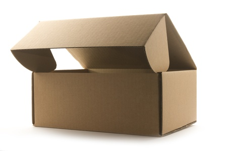 brown open cardboard box isolated on white background Stock Photo - 18069036