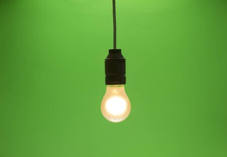 matte lightbulb isolated on green screen with vignette Stock Photo - 18247472