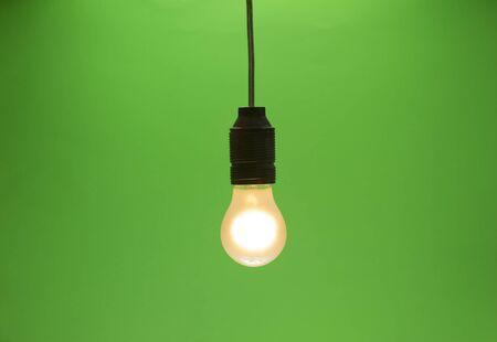 matte lightbulb isolated on green screen with vignette Stock Photo - 18247472