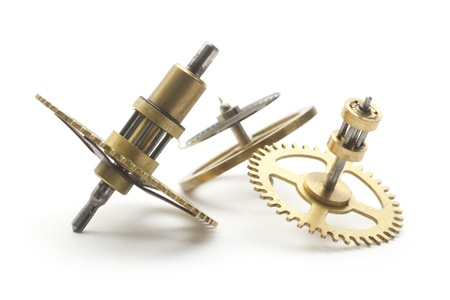 group of clockwork gear macro isolated on white Stock Photo