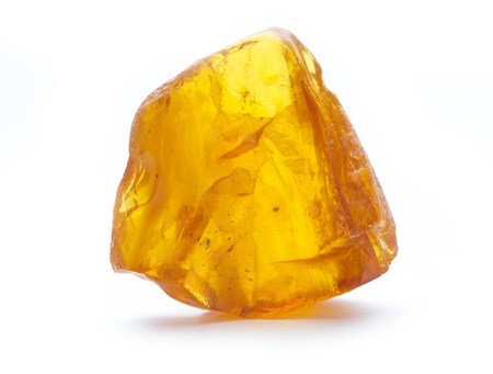 piece of amber isolated on white background