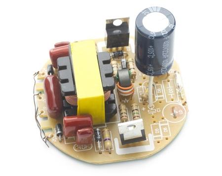 macro electronic object isolated on white background